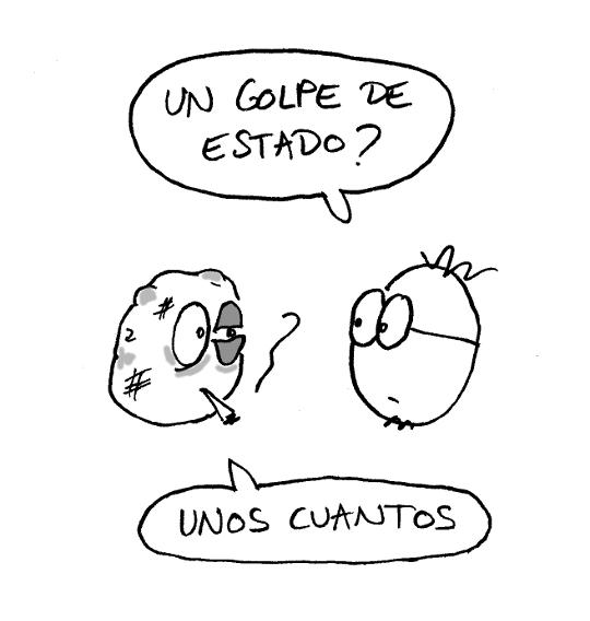 Viñeta de humor gráfico sobre la brutalidad policial en España.