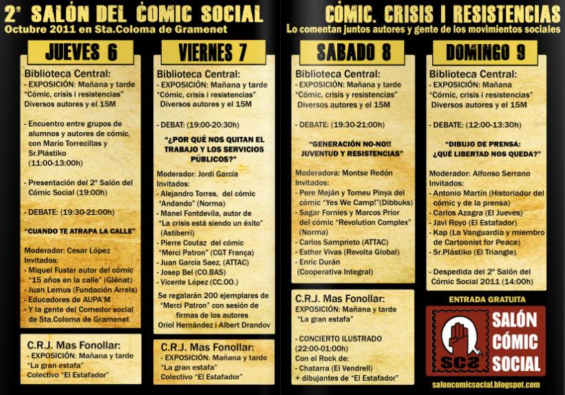 Programa del Salón del Cómic Social de Santa Coloma 2011