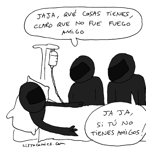 Viñeta de humor gráfico sobre dos agentes antidisturbios homenajeando a un caído.