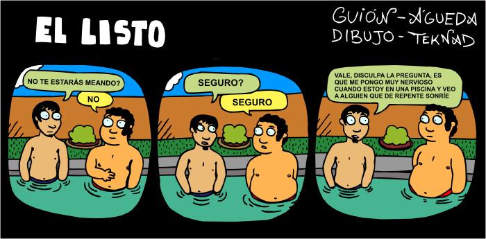 Tira cómica sobre la mala costumbre de hacer pipi en las piscinas.